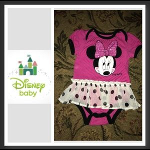 Minnie Mouse onesie w/attached skirt, 6/9 mo.